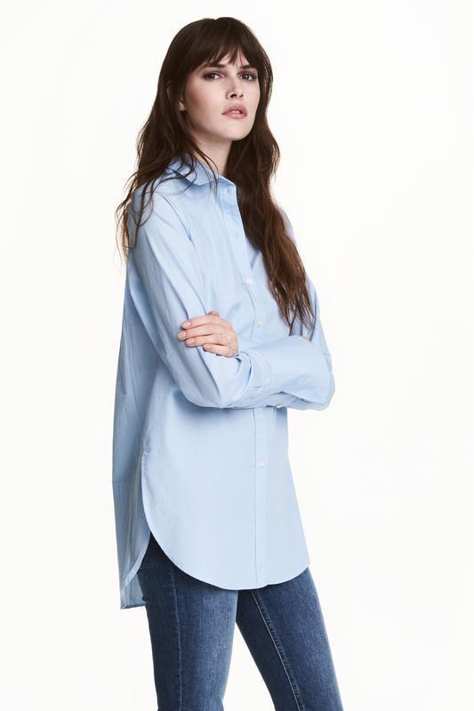 Голубая рубашка свободного кроя h&m. - Фото 2