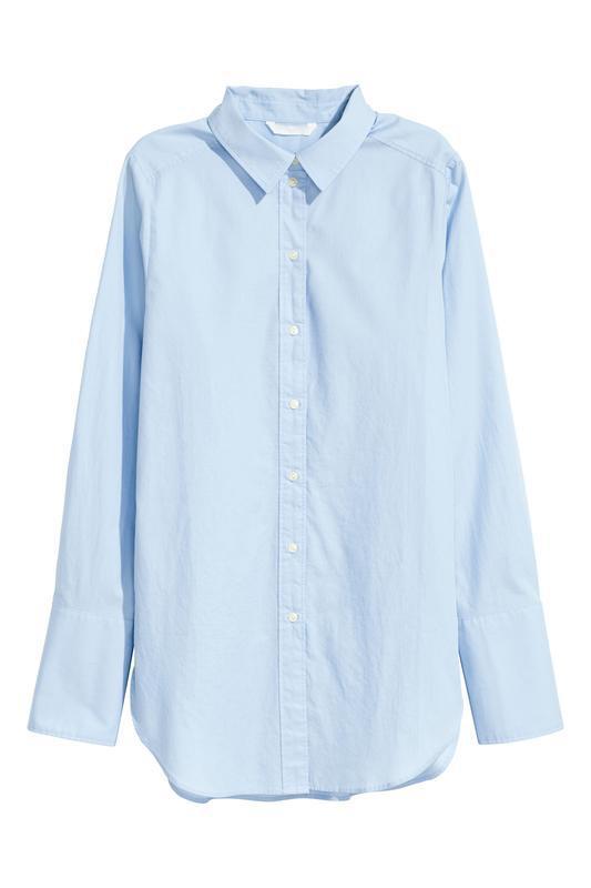 Голубая рубашка свободного кроя h&m. - Фото 3