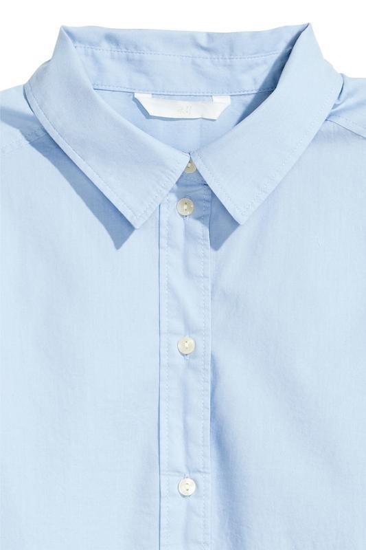 Голубая рубашка свободного кроя h&m. - Фото 4