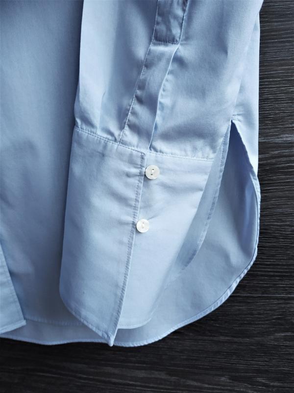 Голубая рубашка свободного кроя h&m. - Фото 5