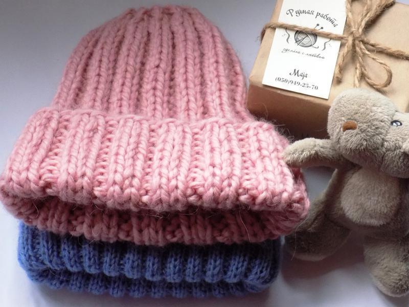 Теплая шапка из толстой пряжи - Фото 2