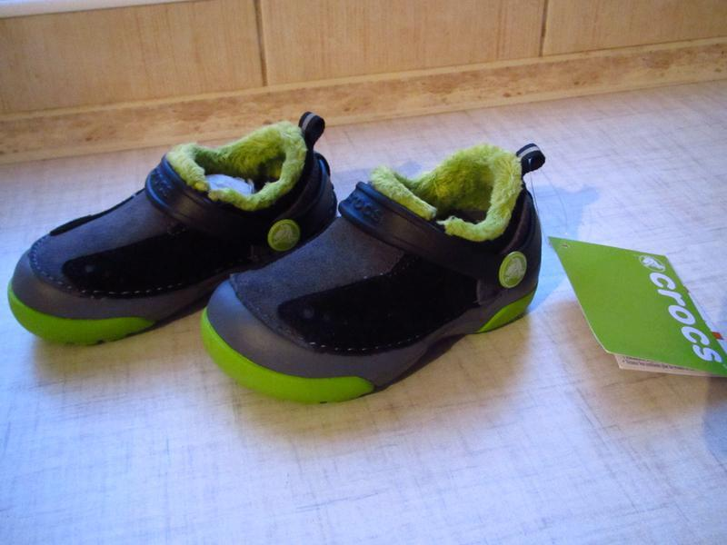 Ботинки с мехом crocs kids dawson slip-on стелька 14см