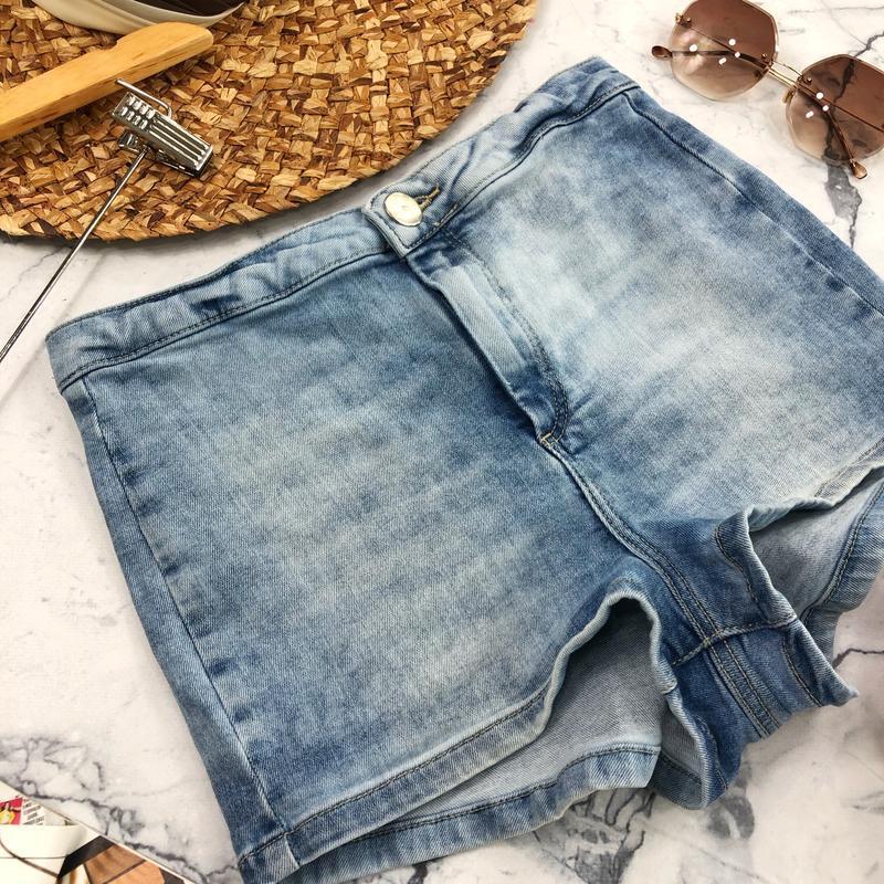 Стрейчевые джинсовые шорты высокой посадки topshop - Фото 5