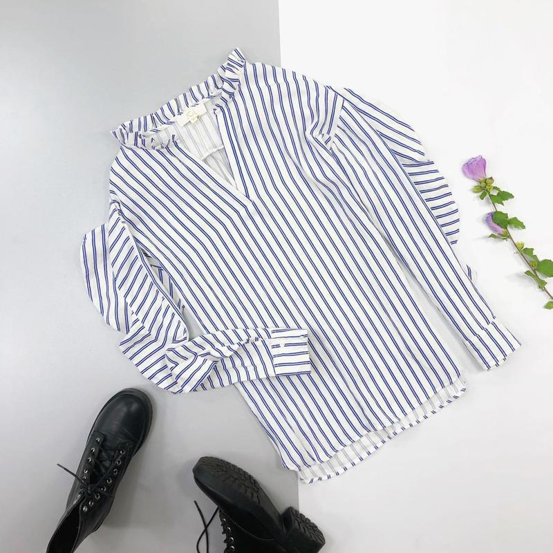 Хлопковая рубашка в полоску оверсайз с рюшами на рукавах jcl