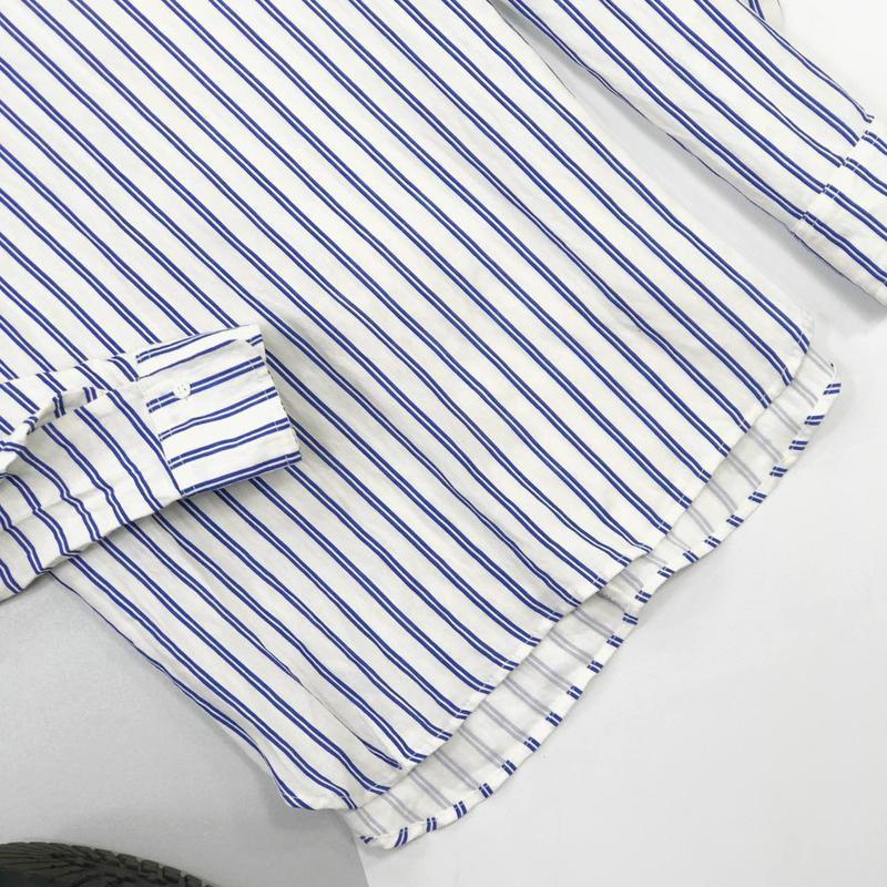 Хлопковая рубашка в полоску оверсайз с рюшами на рукавах jcl - Фото 4