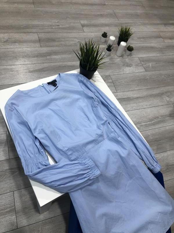 Нежно-голубое хлопковое платье трапеция с длинным рукавом, нат... - Фото 2