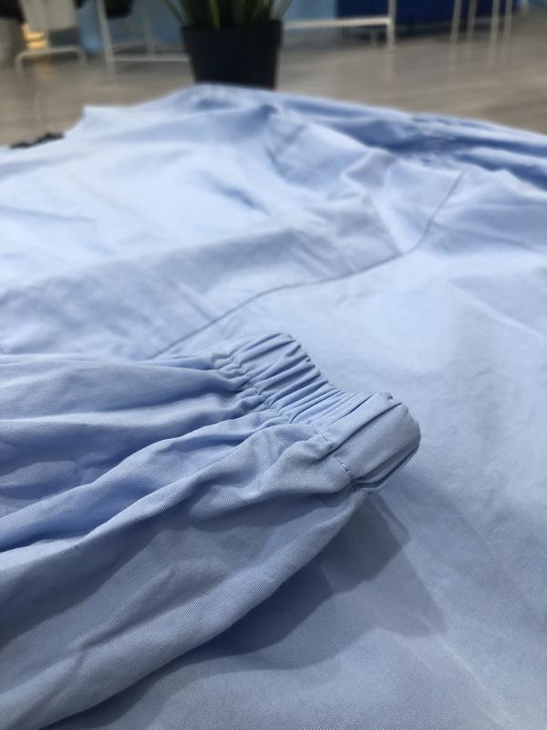 Нежно-голубое хлопковое платье трапеция с длинным рукавом, нат... - Фото 3