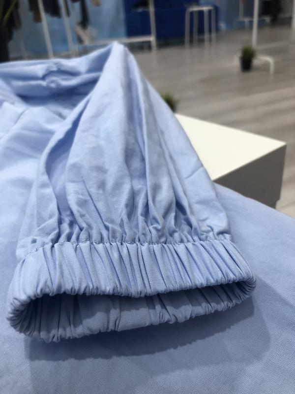 Нежно-голубое хлопковое платье трапеция с длинным рукавом, нат... - Фото 5