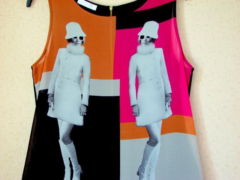 Promod  магическое платье, туника принт девушки 60-х - Фото 2