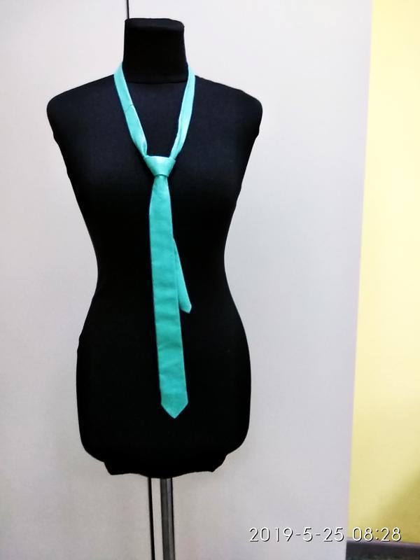Vera pelle бирюзовый галстук кожа - Фото 2