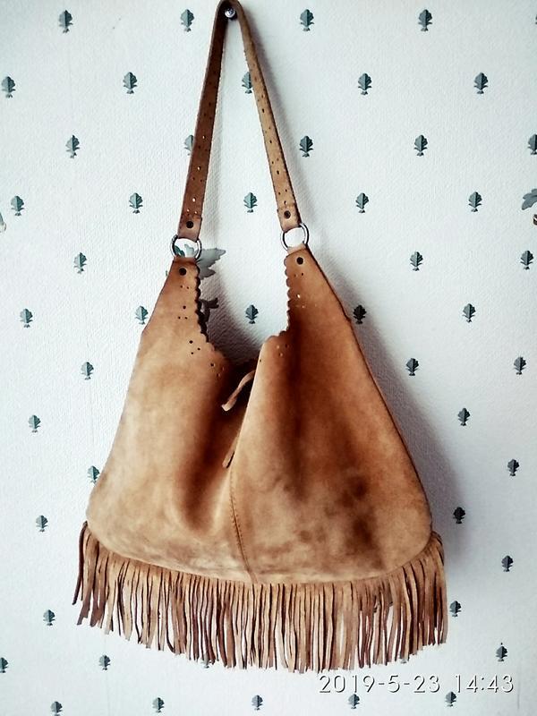 Сумка мешочек натуральная замша  цвет верблюд бохо - Фото 2