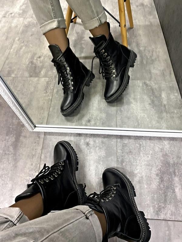 Натуральные кожаные замшевые демисезонные женские ботинки на ш... - Фото 2