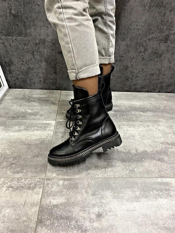 Натуральные кожаные замшевые демисезонные женские ботинки на ш... - Фото 3