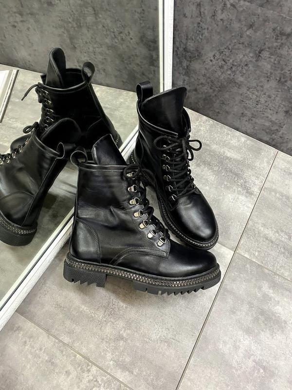 Натуральные кожаные замшевые демисезонные женские ботинки на ш... - Фото 5