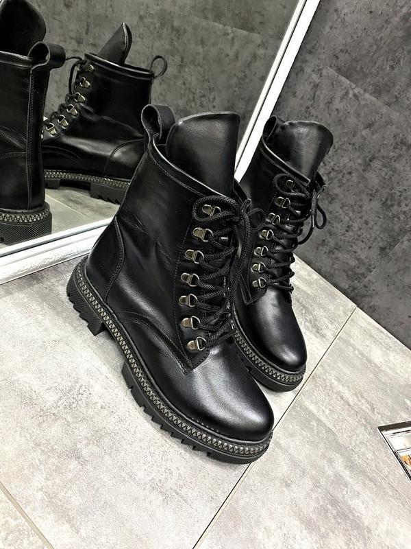 Натуральные кожаные замшевые демисезонные женские ботинки на ш... - Фото 6