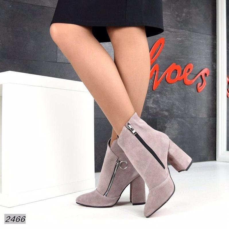Натуральные замшевые женские демисезонные ботинки ботильоны на... - Фото 2