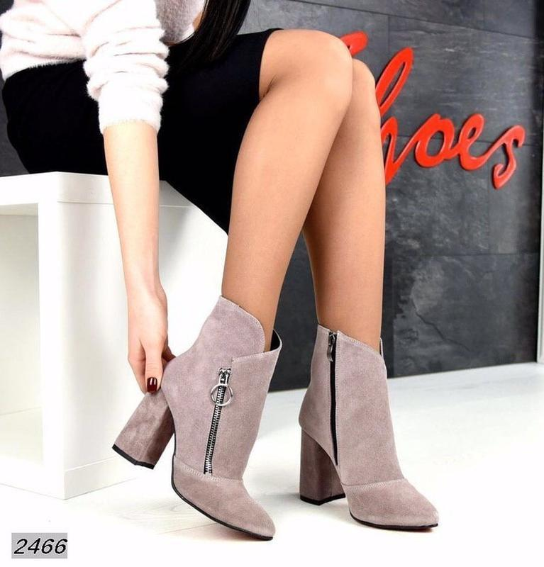 Натуральные замшевые женские демисезонные ботинки ботильоны на... - Фото 3