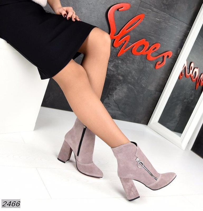 Натуральные замшевые женские демисезонные ботинки ботильоны на... - Фото 4