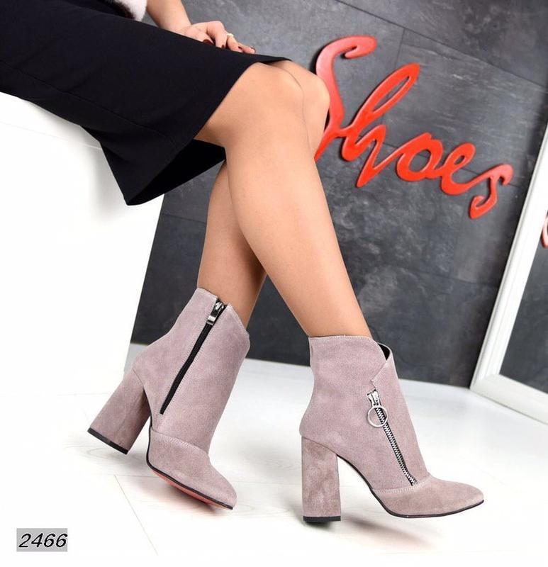 Натуральные замшевые женские демисезонные ботинки ботильоны на... - Фото 6