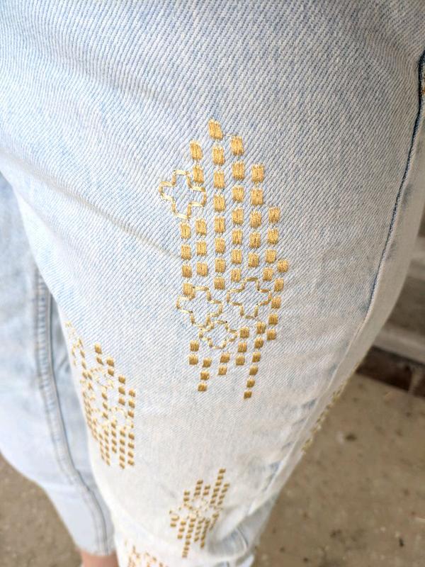 Мам джинсы с красивой вышивкой, nom джинсы - Фото 7