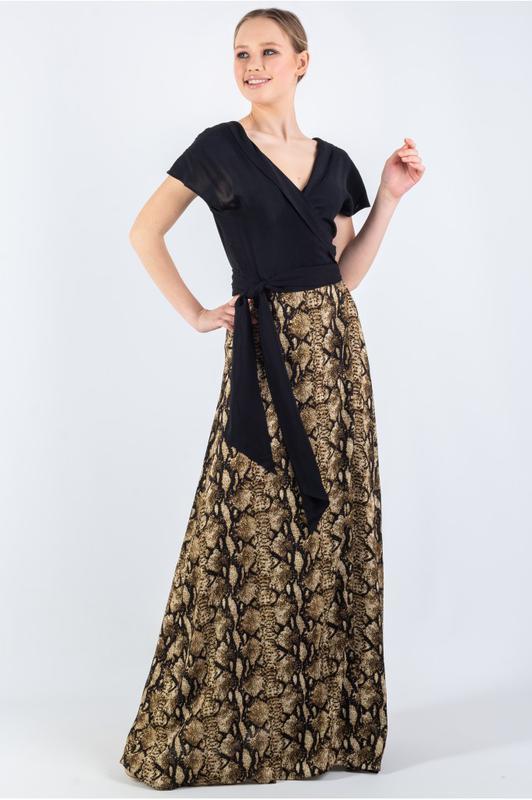 Летнее длинное платье-запах большого размера штапель