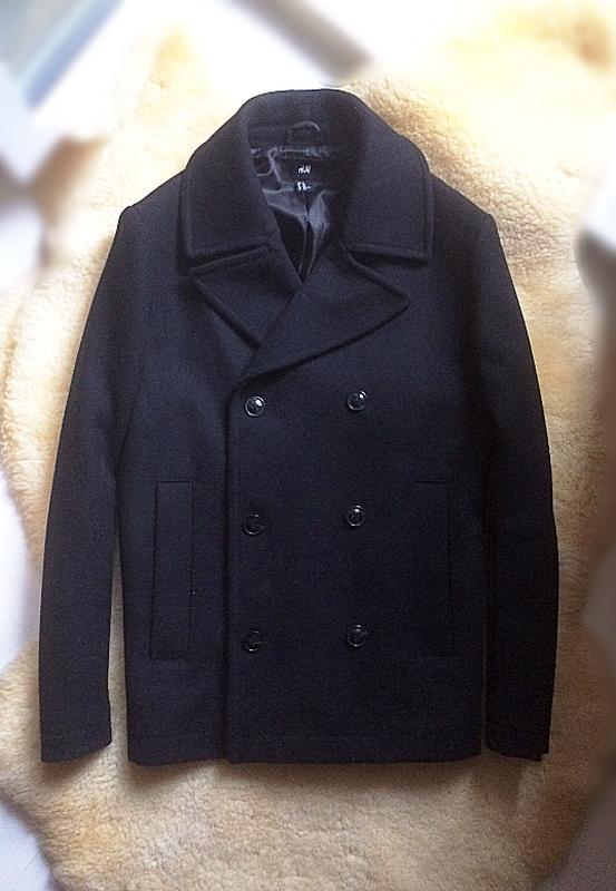 Двубортне коротке  чоловіче пальто 60% вовна h&m,p. m
