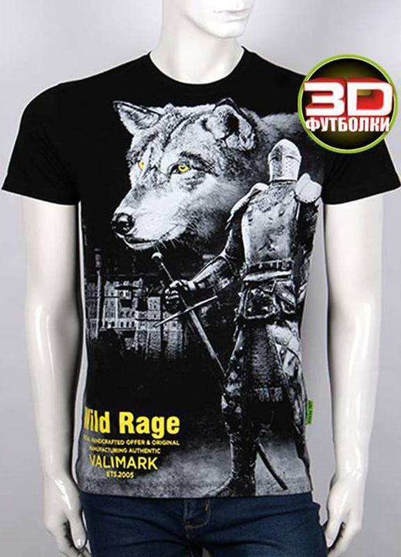 Футболка мужская волк и рыцарь, 3 D