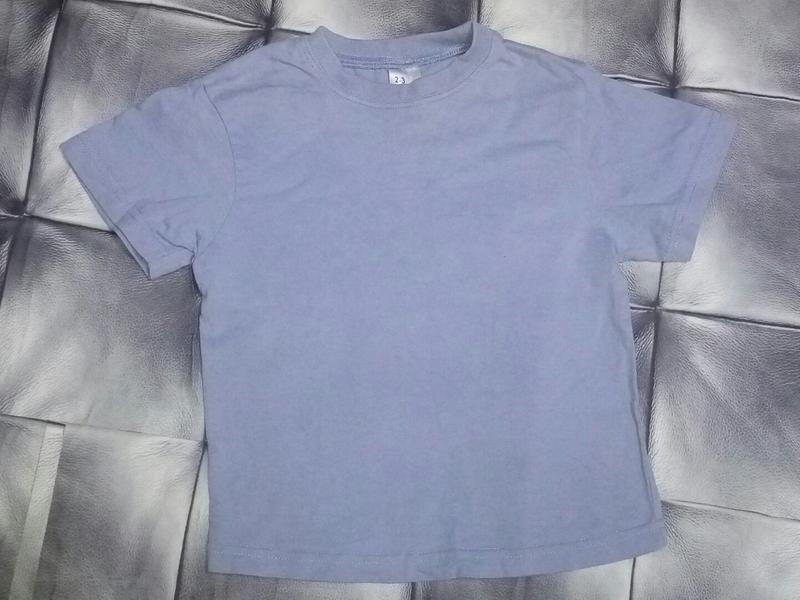 Однотонная  голубая футболка 2-3 года