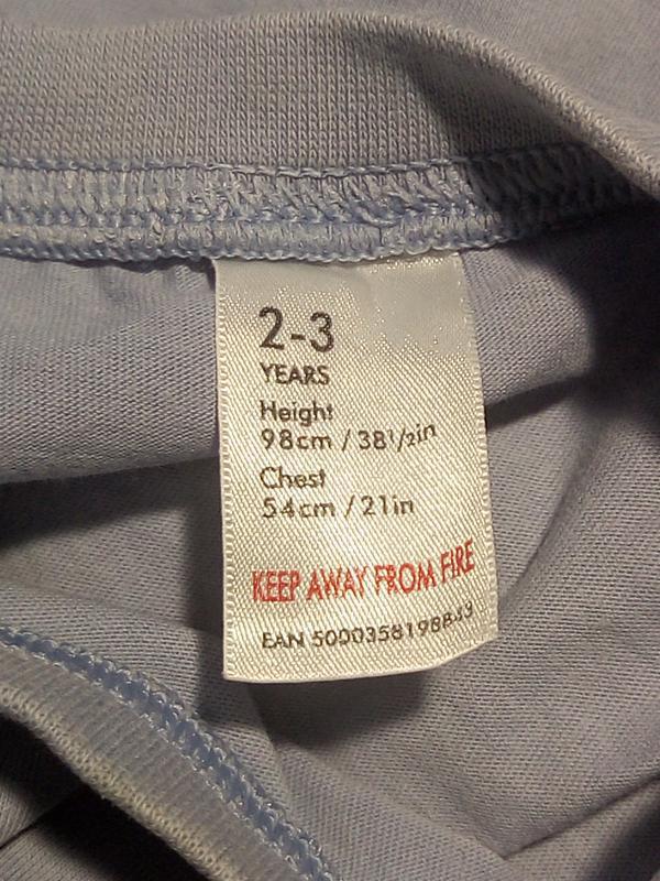 Однотонная  голубая футболка 2-3 года - Фото 3