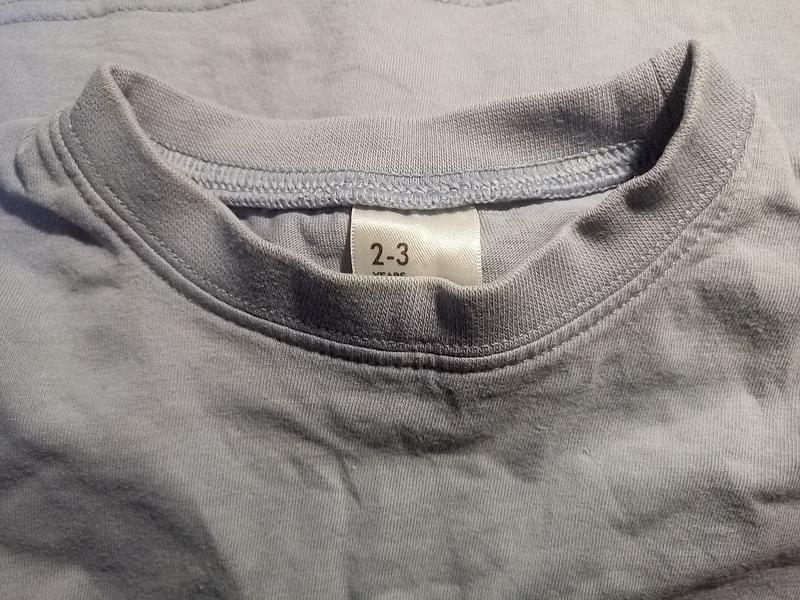 Однотонная  голубая футболка 2-3 года - Фото 4