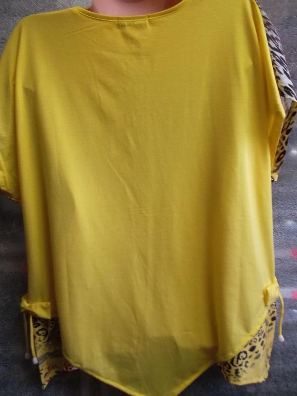 Нарядная летняя блузка ярко-желтого цвета в цветочный принт - Фото 2