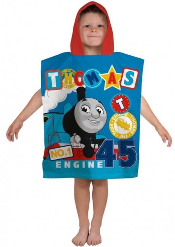 Пляжное полотенце пончо с капюшоном паровоз томас для мальчика... - Фото 2