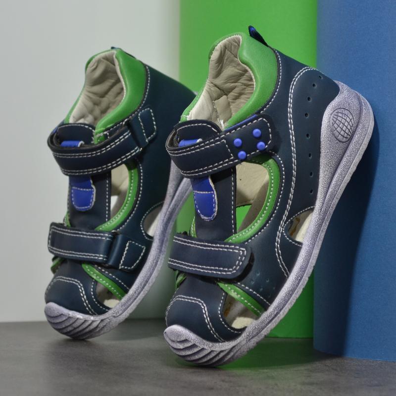 Босоножки с резиновым носком синие с зеленым