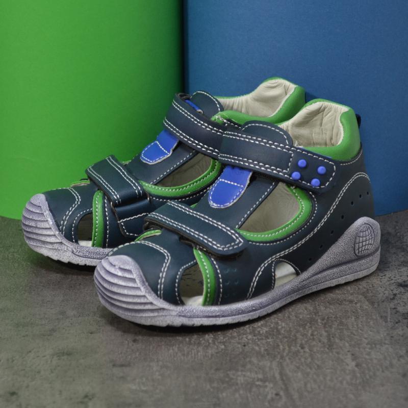 Босоножки с резиновым носком синие с зеленым - Фото 2