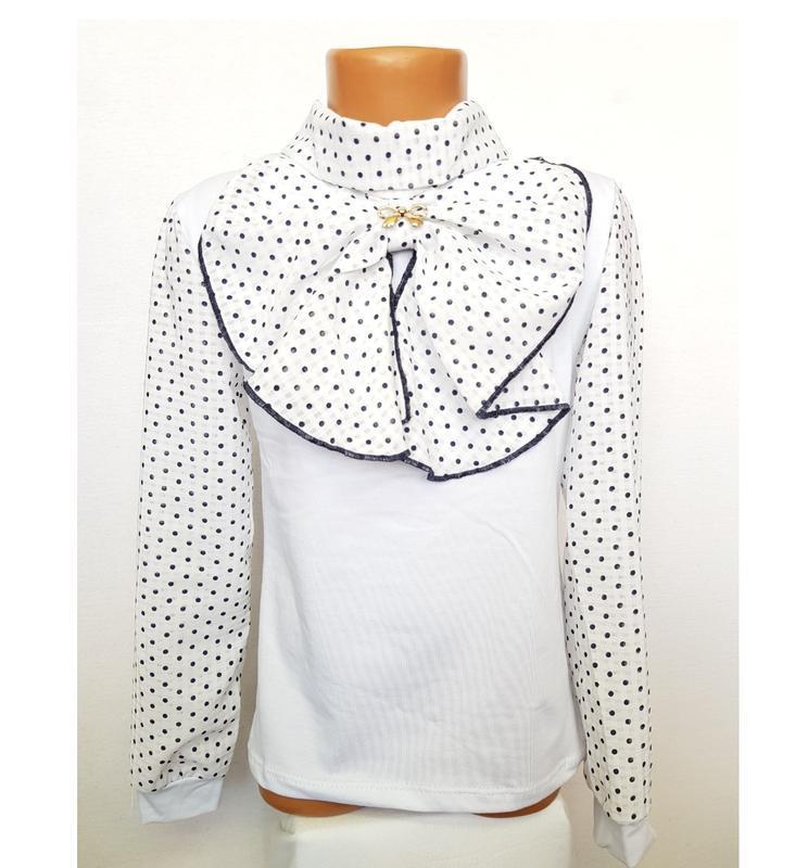 🌼 недорогая нарядная блузка школьная с жабо