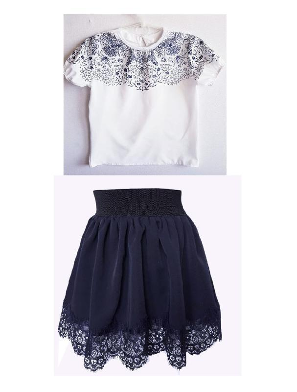 """🌼 комплект, школьная блузка и юбка """"ажур"""""""