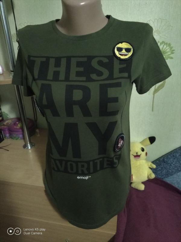 Бомбезная футболка цвета хаки-xxs-xs-s-158-160- emoji-