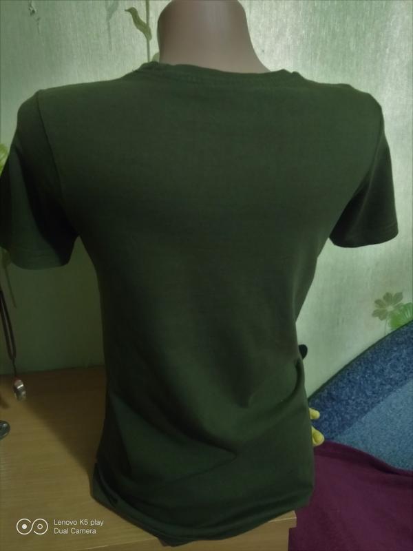 Бомбезная футболка цвета хаки-xxs-xs-s-158-160- emoji- - Фото 2