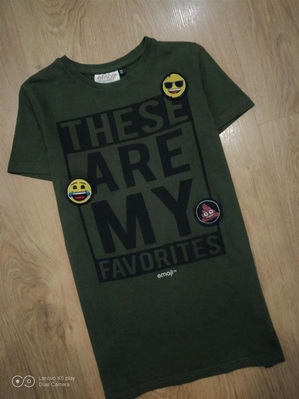 Бомбезная футболка цвета хаки-xxs-xs-s-158-160- emoji- - Фото 3