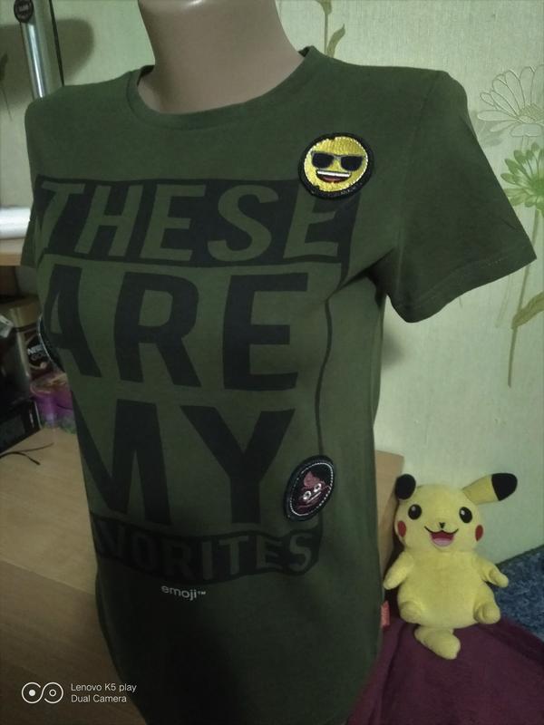 Бомбезная футболка цвета хаки-xxs-xs-s-158-160- emoji- - Фото 5