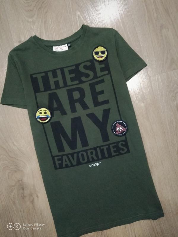Бомбезная футболка цвета хаки-xxs-xs-s-158-160- emoji- - Фото 6