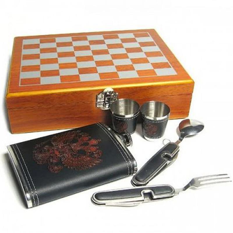 Мужской подарочный набор с флягой и шахматами №QZ8 - Фото 3