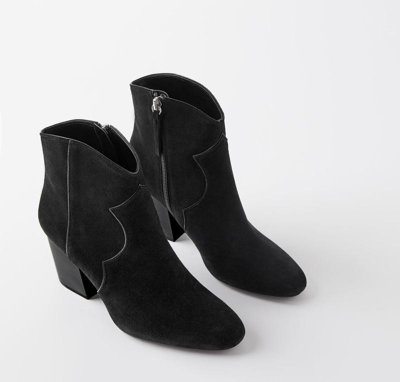 Полусапоги кожаные zara на каблуке, в ковбойском стиле