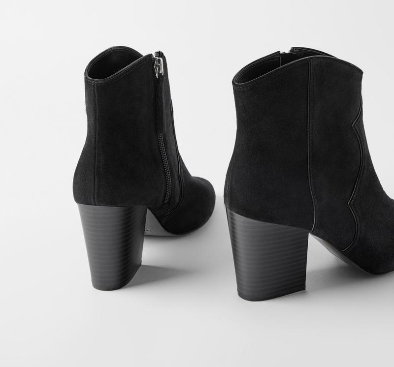 Полусапоги кожаные zara на каблуке, в ковбойском стиле - Фото 2