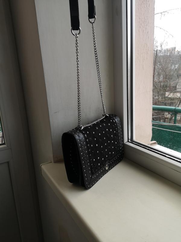 Кожаная сумка zara - Фото 3