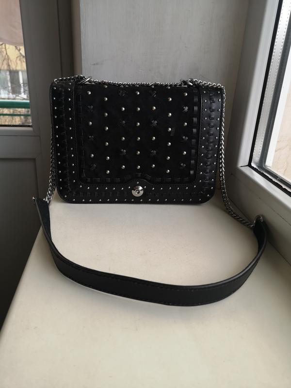 Кожаная сумка zara - Фото 4