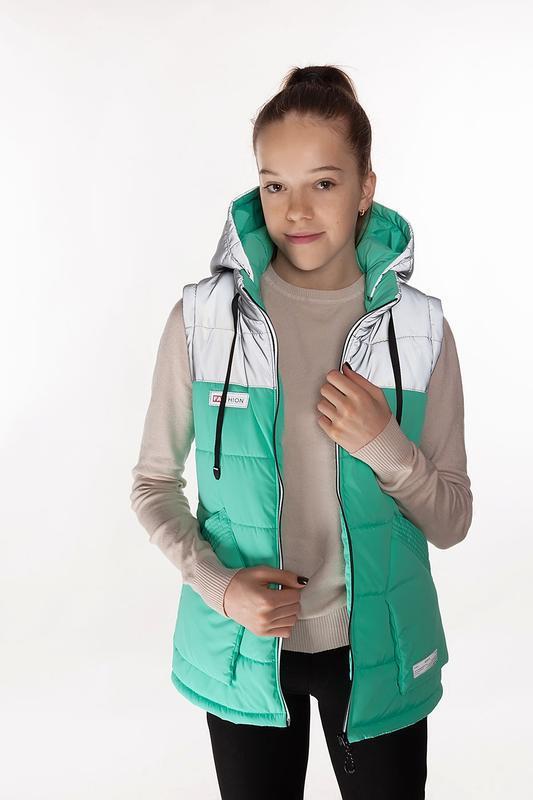 Nikol - детская демисезонная куртка-жилет, цвет персик - Фото 2
