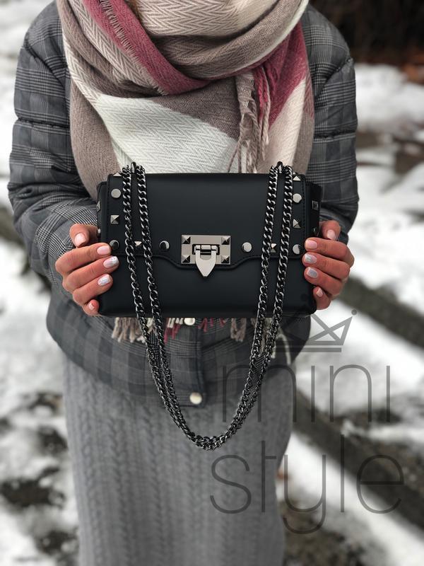 Кожа кожаная сумка на ручке цепочке cross-body сумочка трендов... - Фото 2