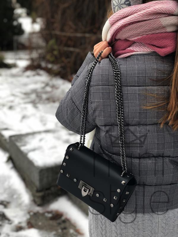 Кожа кожаная сумка на ручке цепочке cross-body сумочка трендов... - Фото 3