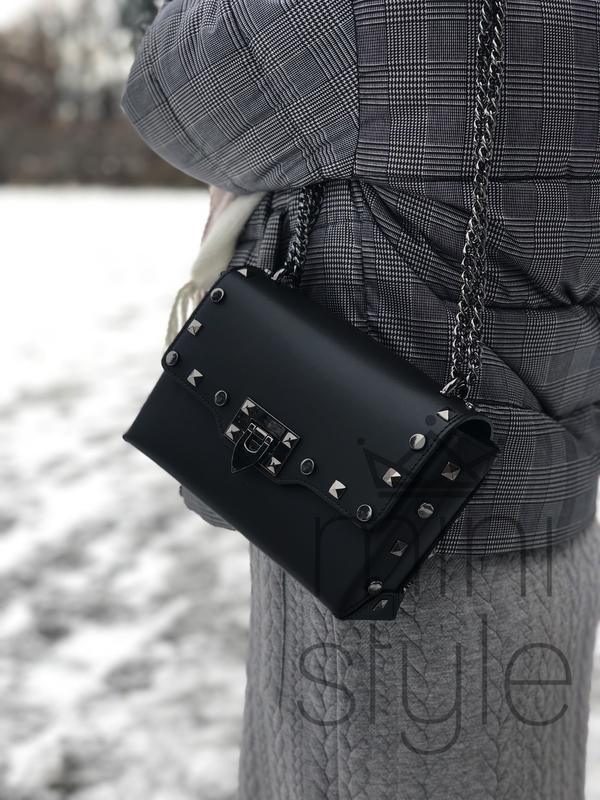 Кожа кожаная сумка на ручке цепочке cross-body сумочка трендов... - Фото 4